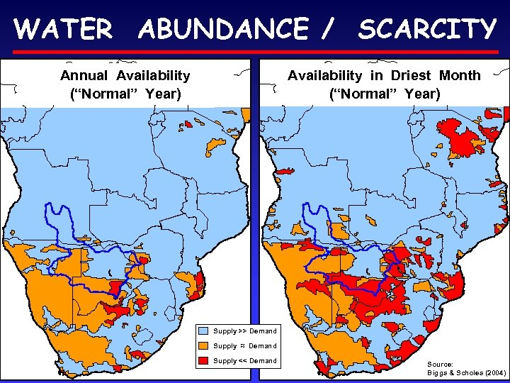 """WATER ABUNDANCE / SCARCITY Annual Availability (""""Normal"""" Year) Availability in Driest Month (""""Normal"""" Year)"""