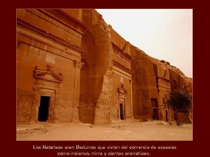 Los Nabateos eran Beduinos que vivían del comercio de especias como incienso, mirra y