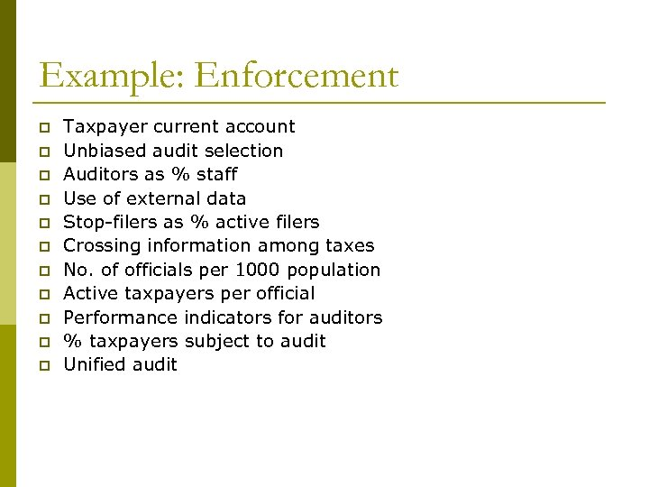 Example: Enforcement p p p Taxpayer current account Unbiased audit selection Auditors as %