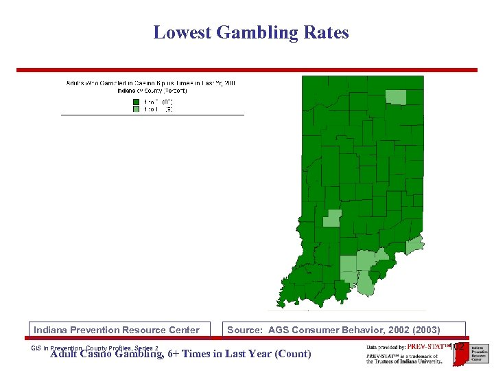 Lowest Gambling Rates Indiana Prevention Resource Center GIS in Prevention, County Profiles, Series 2