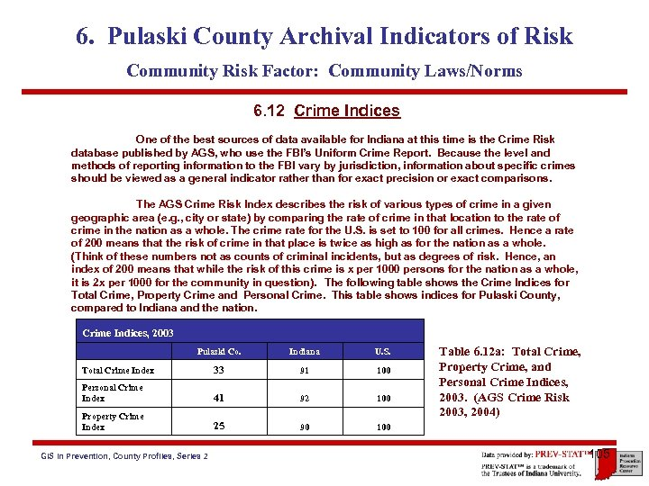 6. Pulaski County Archival Indicators of Risk Community Risk Factor: Community Laws/Norms 6. 12