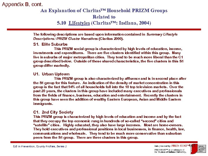 Appendix B, cont. An Explanation of Claritas™ Household PRIZM Groups Related to 5. 10