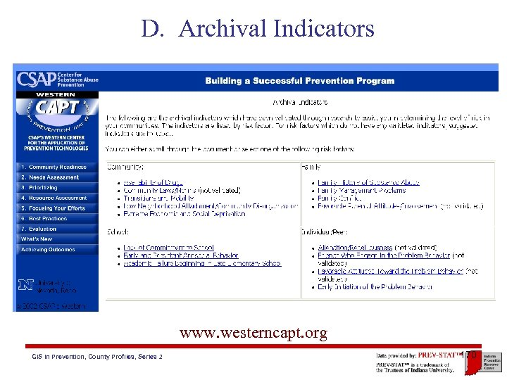 D. Archival Indicators www. westerncapt. org GIS in Prevention, County Profiles, Series 2 170