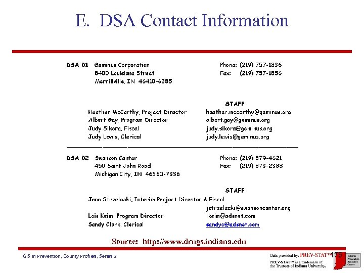 E. DSA Contact Information Source: http: //www. drugs. indiana. edu GIS in Prevention, County