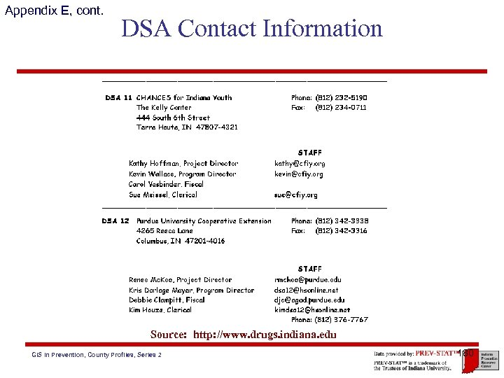 Appendix E, cont. DSA Contact Information Source: http: //www. drugs. indiana. edu GIS in