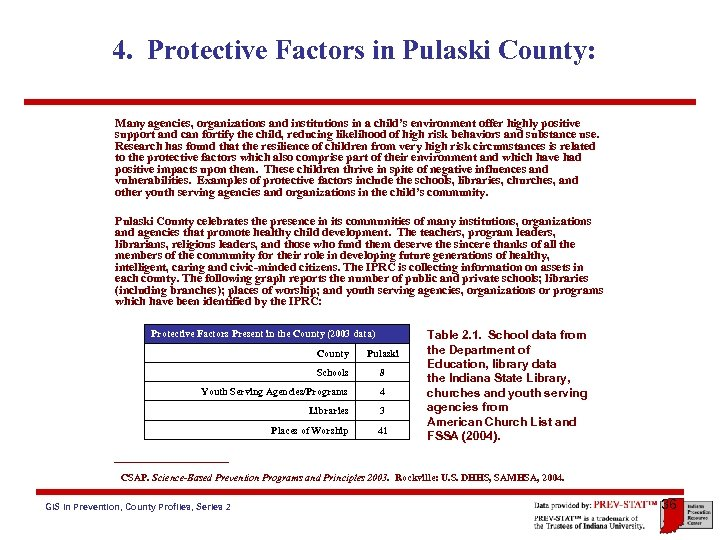 4. Protective Factors in Pulaski County: Many agencies, organizations and institutions in a child's