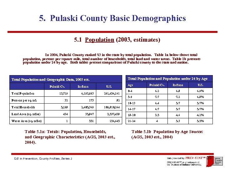 5. Pulaski County Basic Demographics 5. 1 Population (2003, estimates) In 2004, Pulaski County