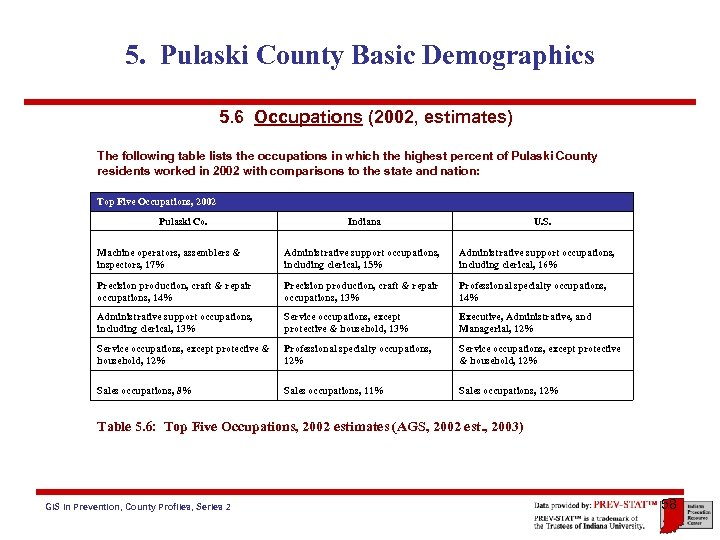 5. Pulaski County Basic Demographics 5. 6 Occupations (2002, estimates) The following table lists