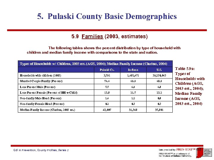 5. Pulaski County Basic Demographics 5. 9 Families (2003, estimates) The following tables shows