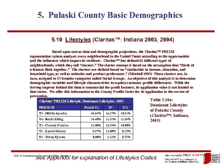 5. Pulaski County Basic Demographics 5. 10 Lifestyles (Claritas™: Indiana 2003, 2004) Based upon