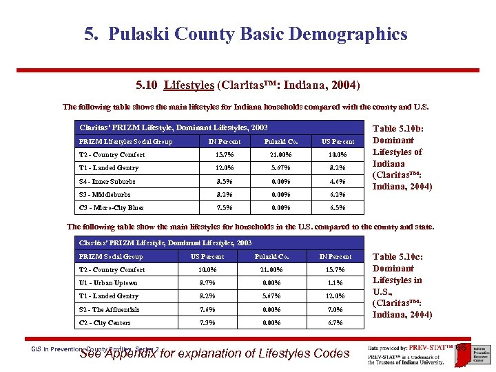 5. Pulaski County Basic Demographics 5. 10 Lifestyles (Claritas™: Indiana, 2004) The following table