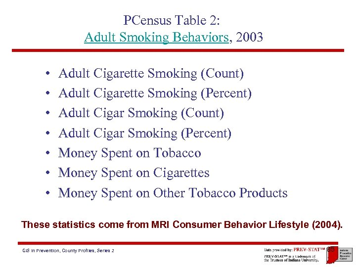 PCensus Table 2: Adult Smoking Behaviors, 2003 • • Adult Cigarette Smoking (Count) Adult