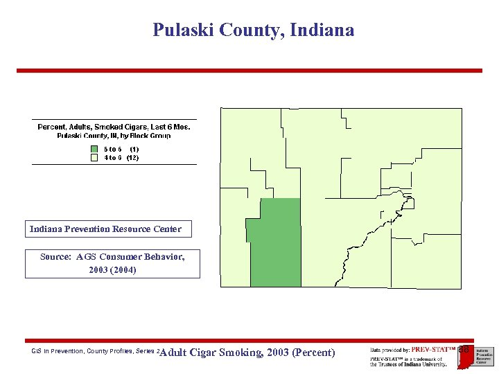 Pulaski County, Indiana Prevention Resource Center Source: AGS Consumer Behavior, 2003 (2004) Adult Cigar