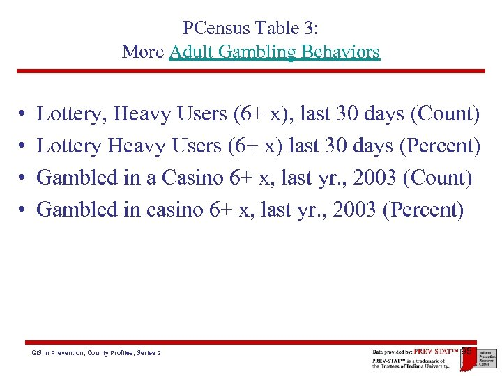 PCensus Table 3: More Adult Gambling Behaviors • • Lottery, Heavy Users (6+ x),