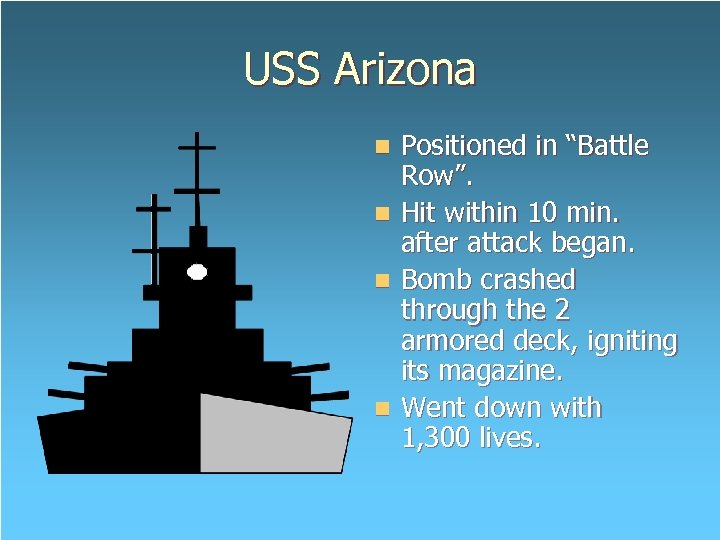 """USS Arizona Positioned in """"Battle Row"""". n Hit within 10 min. after attack began."""