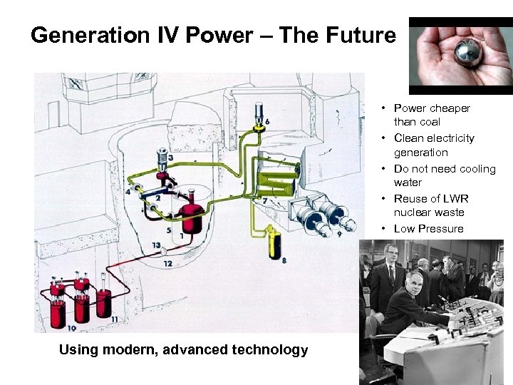 Generation IV Power – The Future • Power cheaper than coal • Clean electricity