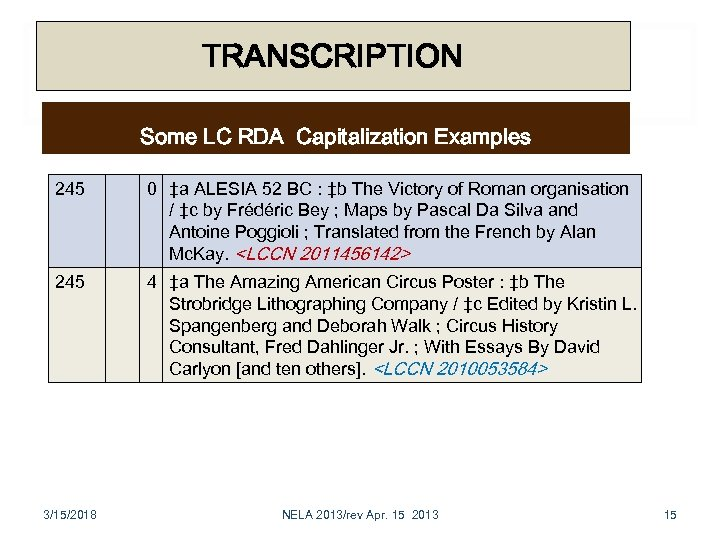 TRANSCRIPTION Some LC RDA Capitalization Examples 245 0 ‡a ALESIA 52 BC : ‡b