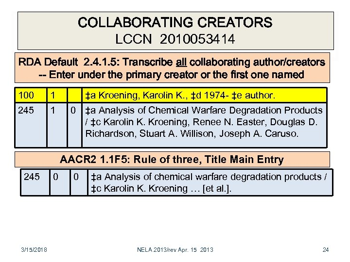 COLLABORATING CREATORS LCCN 2010053414 RDA Default 2. 4. 1. 5: Transcribe all collaborating author/creators