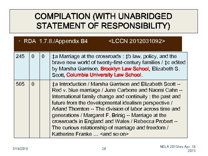 COMPILATION (WITH UNABRIDGED STATEMENT OF RESPONSIBILITY) • RDA 1. 7. 8. /Appendix B 4