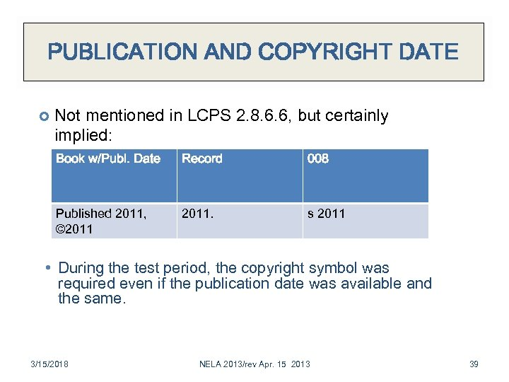PUBLICATION AND COPYRIGHT DATE Not mentioned in LCPS 2. 8. 6. 6, but certainly