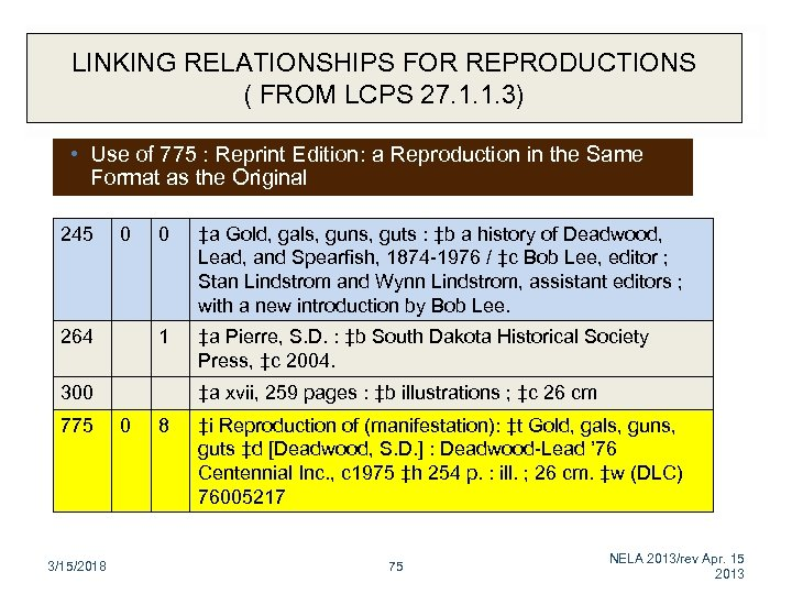 LINKING RELATIONSHIPS FOR REPRODUCTIONS ( FROM LCPS 27. 1. 1. 3) • Use of