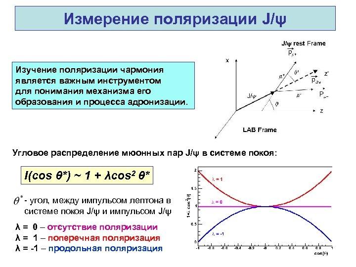 Измерение поляризации J/ψ Изучение поляризации чармония является важным инструментом для понимания механизма его образования