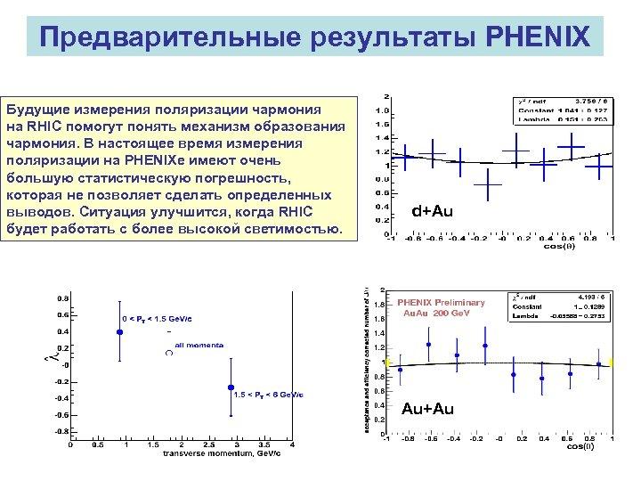Предварительные результаты PHENIX Будущие измерения поляризации чармония на RHIC помогут понять механизм образования чармония.