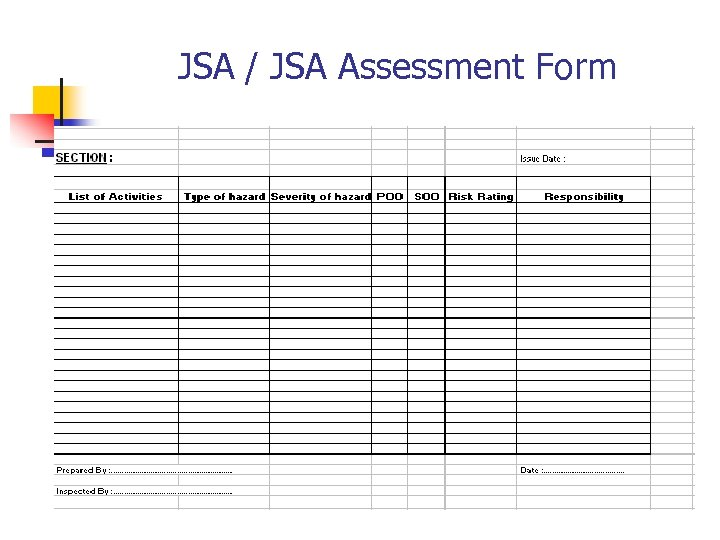 JSA / JSA Assessment Form