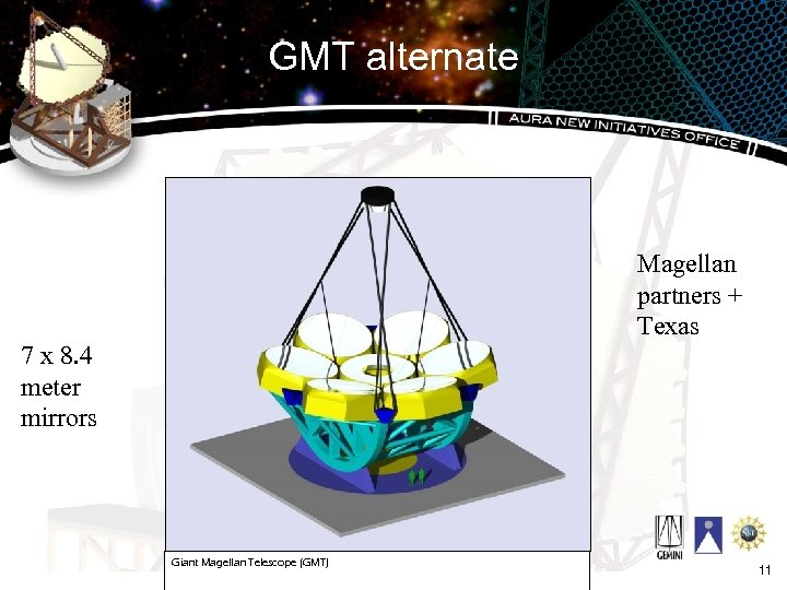 GMT alternate Magellan partners + Texas 7 x 8. 4 meter mirrors Giant Magellan