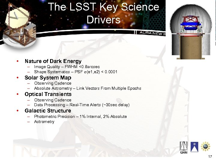 The LSST Key Science Drivers • Nature of Dark Energy – Image Quality –