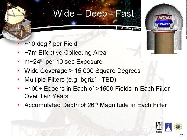 Wide – Deep - Fast • • • ~10 deg. 2 per Field ~7