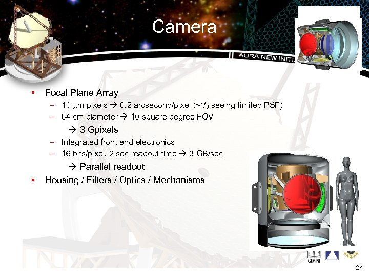 Camera • Focal Plane Array – 10 mm pixels 0. 2 arcsecond/pixel (~1/3 seeing-limited