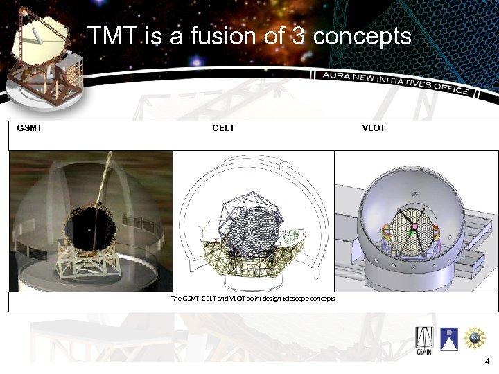 TMT is a fusion of 3 concepts GSMT CELT VLOT The GSMT, CELT and