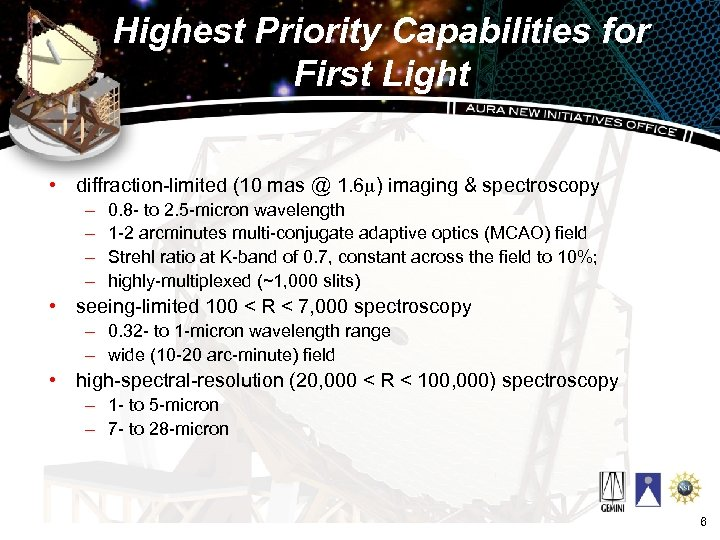 Highest Priority Capabilities for First Light • diffraction-limited (10 mas @ 1. 6 m)