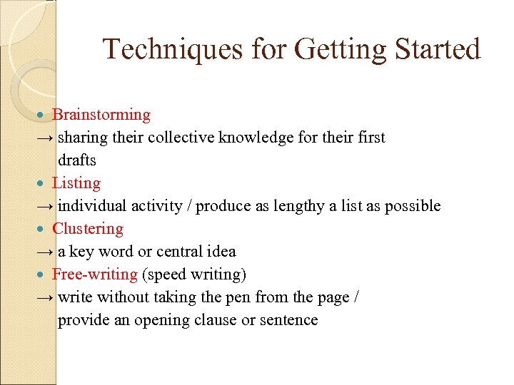 Techniques for Getting Started Brainstorming → sharing their collective knowledge for their first drafts