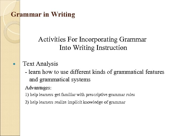 Grammar in Writing Activities For Incorporating Grammar Into Writing Instruction Text Analysis - learn