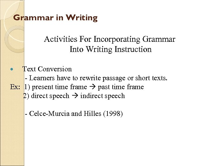 Grammar in Writing Activities For Incorporating Grammar Into Writing Instruction Text Conversion - Learners