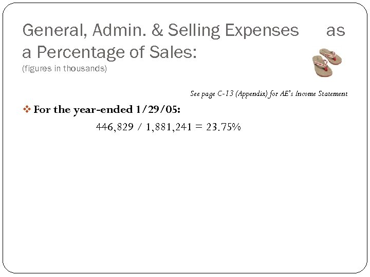 General, Admin. & Selling Expenses a Percentage of Sales: as (figures in thousands) See