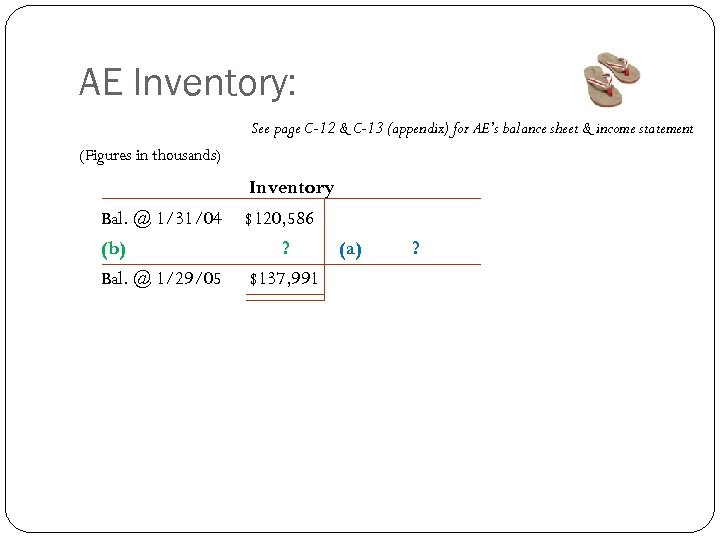 AE Inventory: See page C-12 & C-13 (appendix) for AE's balance sheet & income