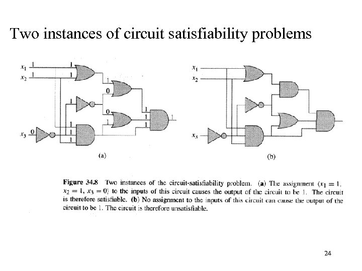 Two instances of circuit satisfiability problems 24