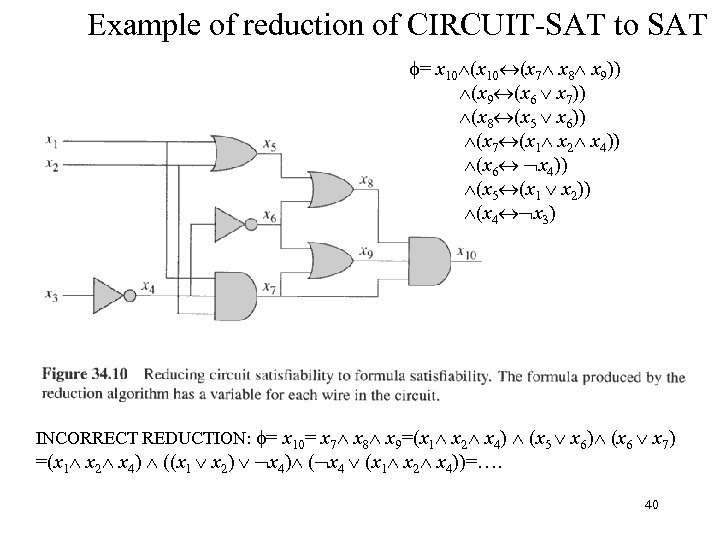 Example of reduction of CIRCUIT-SAT to SAT = x 10 (x 7 x 8