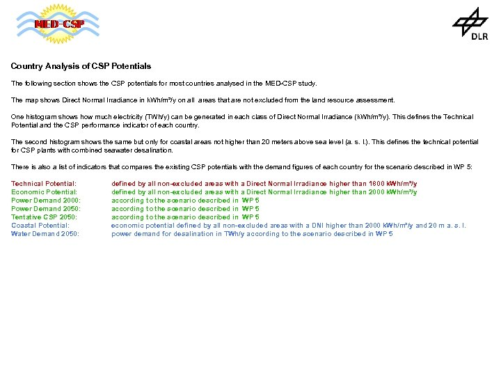 Country Analysis of CSP Potentials The following section shows the CSP potentials for most