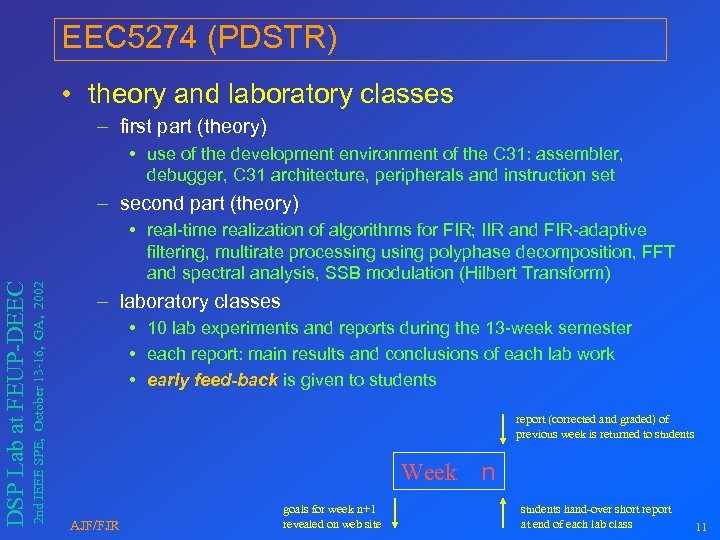 EEC 5274 (PDSTR) • theory and laboratory classes – first part (theory) • use