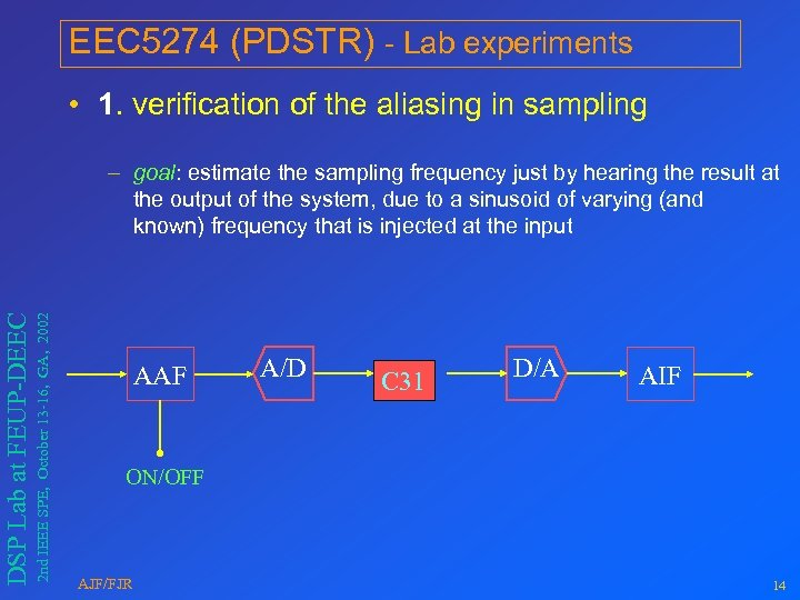 EEC 5274 (PDSTR) - Lab experiments • 1. verification of the aliasing in sampling