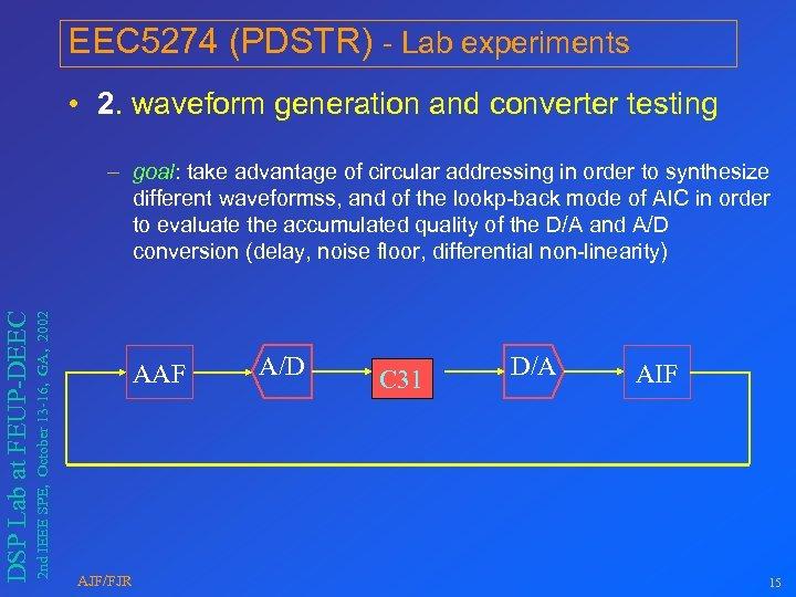 EEC 5274 (PDSTR) - Lab experiments • 2. waveform generation and converter testing 2