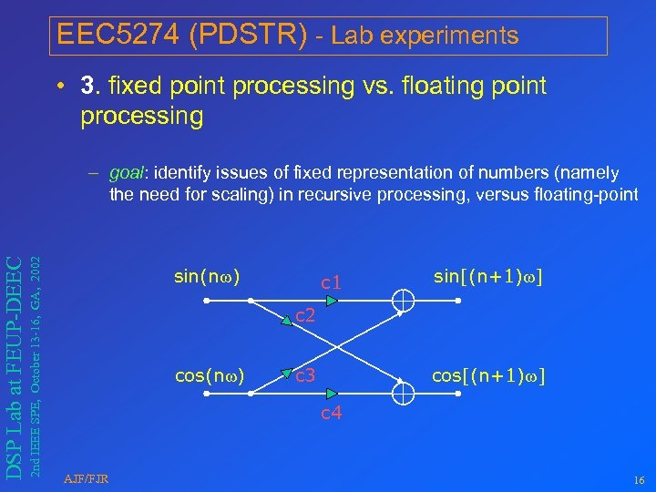 EEC 5274 (PDSTR) - Lab experiments • 3. fixed point processing vs. floating point