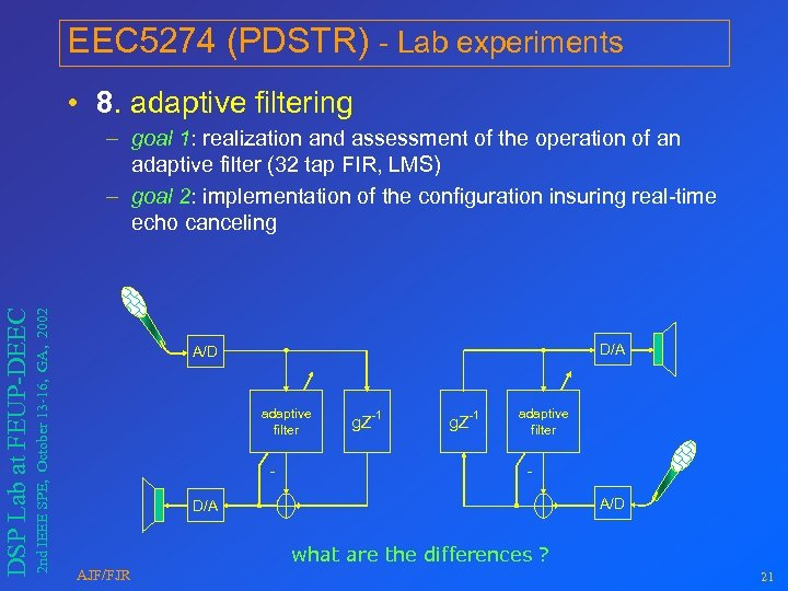 EEC 5274 (PDSTR) - Lab experiments • 8. adaptive filtering 2 nd IEEE SPE,