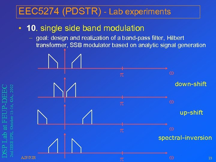 EEC 5274 (PDSTR) - Lab experiments • 10. single side band modulation – goal: