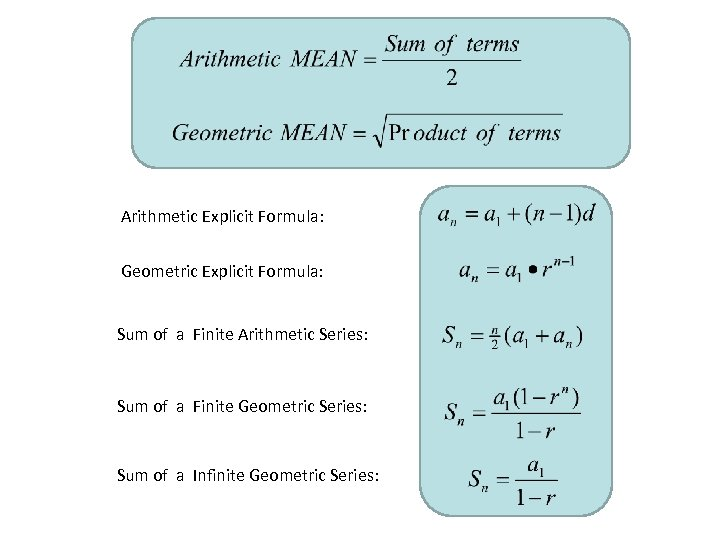 Arithmetic Explicit Formula: Geometric Explicit Formula: Sum of a Finite Arithmetic Series: Sum of