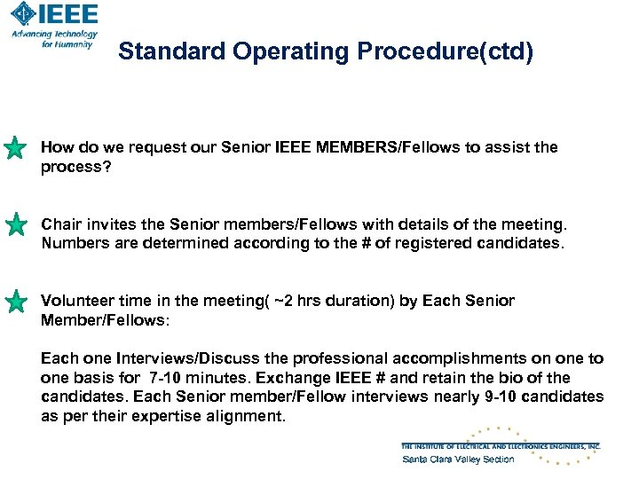 Standard Operating Procedure(ctd) How do we request our Senior IEEE MEMBERS/Fellows to assist the
